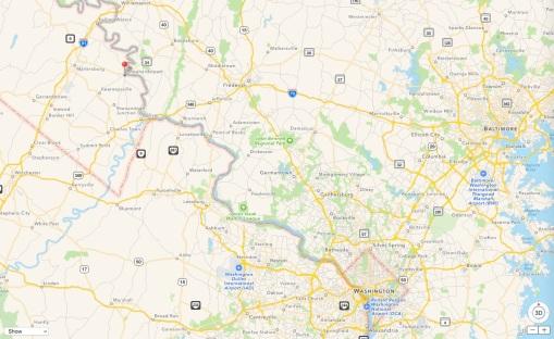 map locating Shepherdstown WV