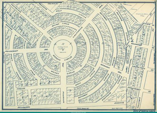 1931 map of Santa Cruz with the original numbering of the lots. Can you find 99? Its on Wilkes.